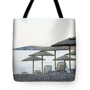 Parasol And Sunbeds At Sunset Tote Bag