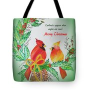Cardinals Painted By Pat Napper  Tote Bag