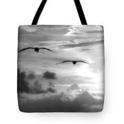 2 Pelicans Flying Into The Clouds Tote Bag