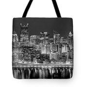 Pittsburgh Pennsylvania Skyline At Night Panorama Tote Bag