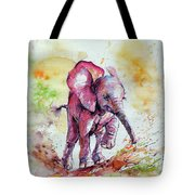 Playing Elephant Baby Tote Bag