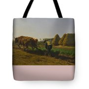 Cattle At Rest On A Hillside In The Alps Tote Bag