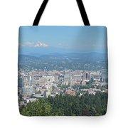 Portland Skyline With Mount Hood Tote Bag