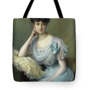 Portrait Of A Young Woman In A Blue Dress Tote Bag