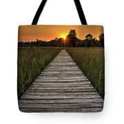 Prairie Boardwalk Sunset Tote Bag