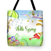 Rabbits And Flowers Tote Bag