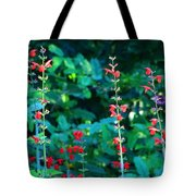 Red Salvias Tote Bag