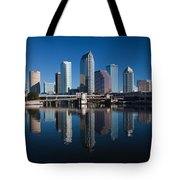 Reflection Of Skyscrapers On Water Tote Bag