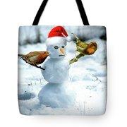 2 Robins On A Snow Man Tote Bag