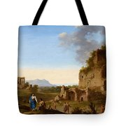 Roman Landscape With Ruins And Travellers Tote Bag