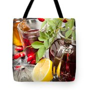 Rosehip Tea With Honey And Lemon In Glass Tote Bag