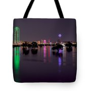 Skyline Of Dallas, Texas At Night Across Flooded Trinity River Tote Bag