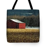 Snowy Red Barn In Winter Tote Bag