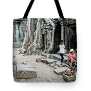 Souvenir Trinket Stall Vendor In Angkor Wat Famous Temple Cambod Tote Bag