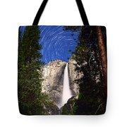 Star Trails At Yosemite Falls Tote Bag