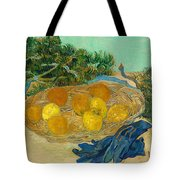 Still Life Of Oranges And Lemons With Blue Gloves Tote Bag