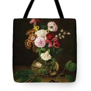 Still Life With Flowers In A Glass Vase And Cherry Twig Tote Bag