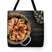 Stir Fry Prawns In Spicy Asian Pineapple And Herbs Sauce Tote Bag