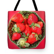 Strawberries In A Wooden Bowl On The Old Wooden Table Tote Bag