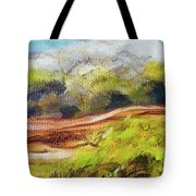 Structure Of Wooden Log Covered With Moss On The Riverside, Closeup Painting Detail. Tote Bag