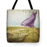 Summer Dress Blowing On Clothesline With Girl Walking Down Path Tote Bag