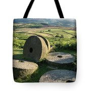 Summer Landscape Image Of Millstones On Top Of Stanage Edge In P Tote Bag