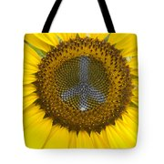 Sunflower Peace Sign Tote Bag
