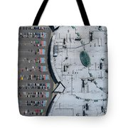 Supermarket Roof And Many Cars In Parking, Viewed From Above. Tote Bag