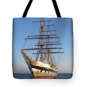 Tall Ship Anchored Off Penzance Tote Bag