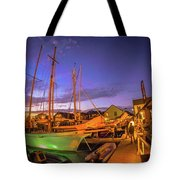 Tall Ships And Yahts Moored In Newport Harbor Tote Bag