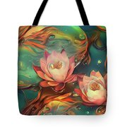 Teal And Peach Waterlilies Tote Bag