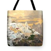 The Golden Hour In Fira Tote Bag