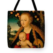 The Virgin And Child Under An Apple Tree Tote Bag
