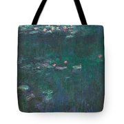 The Water Lilies, Green Reflections Tote Bag