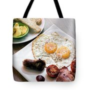 Traditional English British Fried Breakfast With Eggs Bacon And  Tote Bag