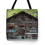Traditional Swiss Alps Houses In Vals Village Alpine Switzerland Tote Bag