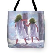 Two Sisters Jumping On The Bed  Tote Bag
