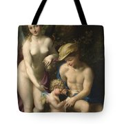 Venus With Mercury And Cupid The School Of Love Tote Bag