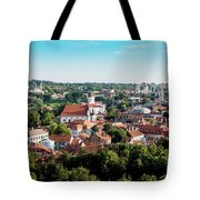 view of downtown in Vilnius city, Lithuanian Tote Bag