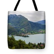 Village Of Talloires On The Banks Of Lake Annecy Tote Bag