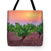 Vineyards At Pink Sunset Tote Bag