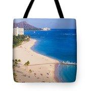 Waikiki Beach And Diamond Head Tote Bag