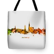 Watercolor Art Print Of The Skyline Of Antwerp In Belgium Tote Bag