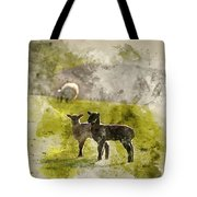Watercolor Painting Of Beauitful Landscape Image Of Newborn Spri Tote Bag