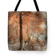 Watercolour Painting Of Beautiful Image Of Red Deer Stag In Fogg Tote Bag