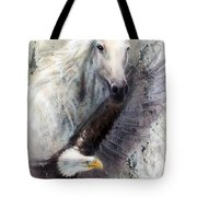 White Horse With A Flying Eagle Beautiful Painting Illustration Tote Bag