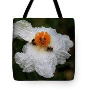 White Poppy And Bee Tote Bag