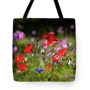 Wild Flowers And Red Poppies Tote Bag