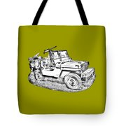 Willys World War Two Army Jeep Illustration Tote Bag