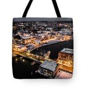Winter Twilight In Mystic Connecticut Tote Bag